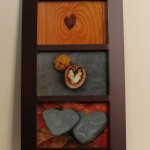 3 hearts in brown frame